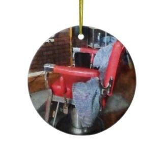 Red Barber Chair Christmas Tree Ornaments