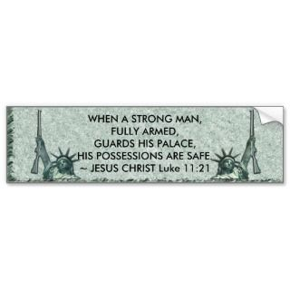 LADY LIBERTY   JESUS QUOTE   ARMS BUMPER STICKER