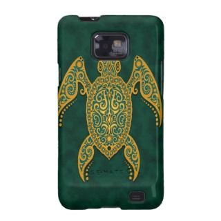 Intricate Golden Blue Sea Turtle Samsung Galaxy Covers