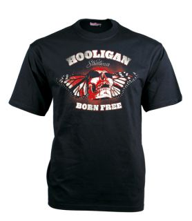 HOOLIGAN T Shirt Born Free   Black