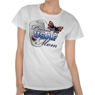 Proud USAF Mom Butterfly T shirt