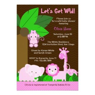 Sweet Jungle Animals Baby Girl Baby Shower Personalized Announcement