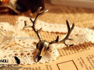 Lovely Cute Retro Bronze Alloy Deer Head Shaped Adjustable Ring Free