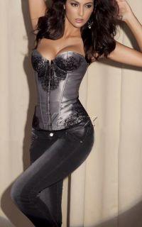 Vintage Sexy Women Strapless Underbust Lingerie Top Corset Bustier IN