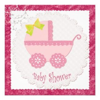 Baby Carriage Its a Girl Pink Baby Shower Sticker