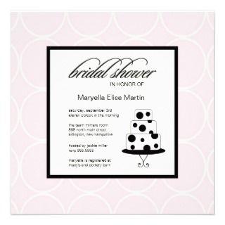 Modern Bridal Shower Pink Trendy Wedding Cake Custom Invites
