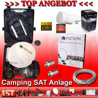 Camping SAT Anlage Antenne + Digital Single LNB 0,1 dB + Kabel HDTV