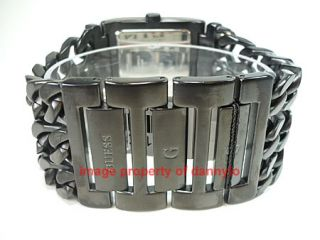 NEW MENS GUESS BLACK STAINLESS STEEL TRIPLE CHAIN ANALOG WATCH G11043G