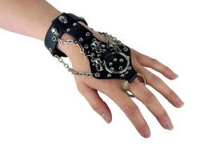 Leder Armband Gothic Handschlaufe Finger Ring Skull