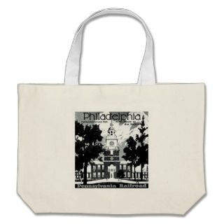 Visit Philadelphia on the Pennsylvania Railroad Canvas Bags