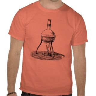 Vintage Chemistry Lab Flask and Bunsen Burner Tshirt