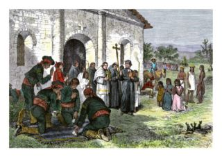 California Mission with Padres, Spanish Soldiers, and Native Americans Giclee Print