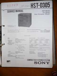 Service Manual Sony HST D305 HiFi System,ORIGINAL