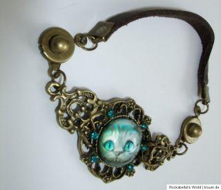 Armband Grinsekatze Alice im Wunderland Leder Cheshire Cat Wonderland