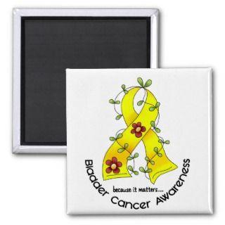 Bladder Cancer FLOWER RIBBON 1 Magnet