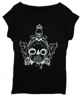 Afends Sugar Skull Diamonds Sloppy Oversized Tee Hip Hop Dance Cotton