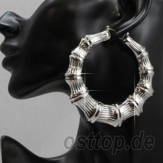 Trend Bamboo Hoops Creolen Earring Ohrringe 80mm 33628