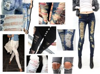 Leopard Lined Blue Skinny Jeans, Distressed Ripped Destroyed, UK 6,8