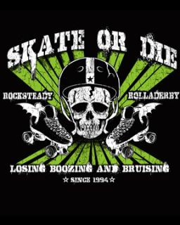 Rock Steady Skate or Die Roller Derby Rockabilly Punk Rock TShirt Tee