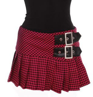 Hell Bunny Fulham Houndstooth Punk Mini Skirt Buckles Rock Pink Black