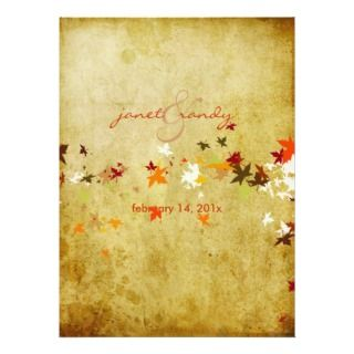 Vintage Maple Leaves/fall wedding Announcement