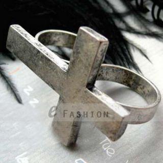 Ring Retro Kreuz Style Ringe Damen Herren doppel Fingerring NEU 102