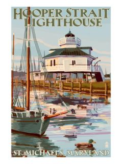 Hooper Strait Lighthouse   St. Michaels, MD Prints by Lantern Press