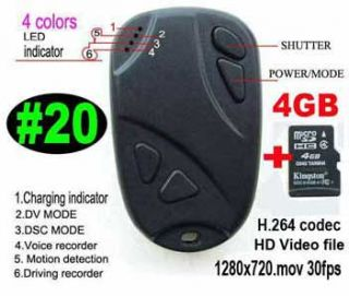 DV Cam, Car Key Spy Cam Bild 808 #20 H.264.mov +4GB TF Card