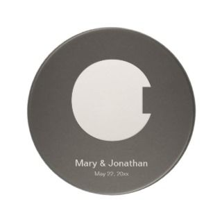 VERY ARTY C MONOGRAM BLACK BEVERAGE COASTER
