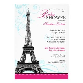 Mod Flourish Eiffel Tower Parisian Baby Shower Cards