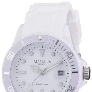 Madison New York Unisex Armbanduhr Candy Time Analog Silikon weiß
