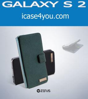 ZENUS Galaxy S2 Leather Case Prestige Lizard Diary Series Blue Black