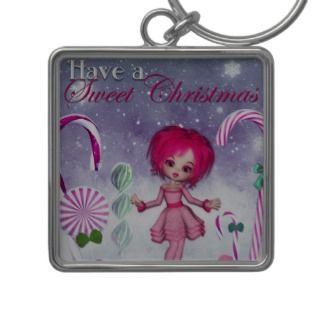 Have a Swee Chrismas  Pink Cookie Poser Girl Key Chain