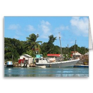 Docked Boats Antigua Greeting Cards