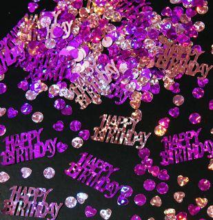 Geburtstag Konfetti Streu Deko Metallic Pink Folie   HAPPY BIRTHDAY