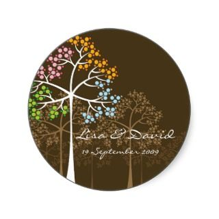 Four Seasons Trees on Brown Gift Label Sticker