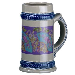 Chinese Fan Blue Heirloom Stein Mug