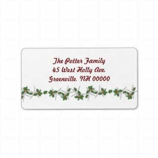Christmas Starfish Address Labels, Red Text