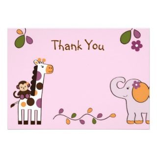 Girl Jungle Animal Flat Thank You Note Cards Invite
