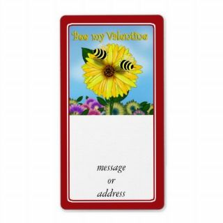 Cartoon Honey Bees Meeting on Yellow Flower Shipping Labels