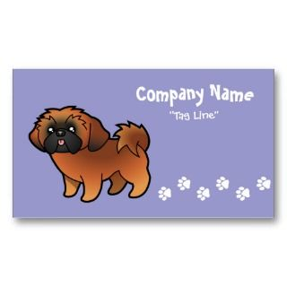 Cartoon Shih Tzu (red puppy cut) Business Cards