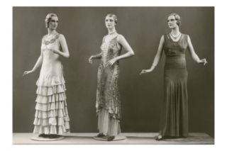Three Twenties Mannequins in Long Dresses Posters