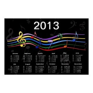 Rainbow Colored Music Notes 2013 Calendar Poster
