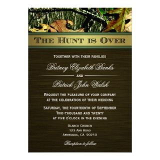 Hunter Green Hunting Camo Wedding RSVP Cards Personalized Announcement