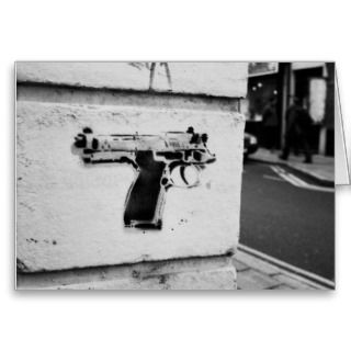 backwards gun stencil graffiti art greeting card