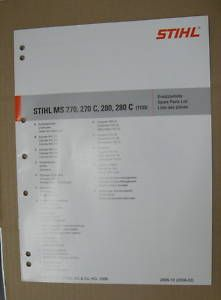 MS 270, 280 Stihl Chainsaw Parts Manual *NEW* C