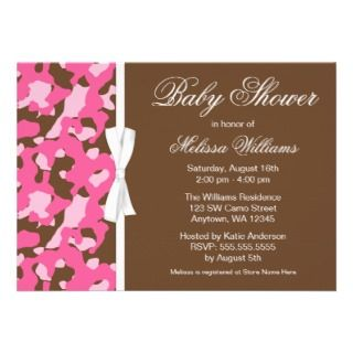 Girly Pink Brown Camo Ribbon Baby Shower Personalized Invites