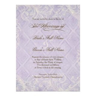 Purple Hydrangea Swirl   Wedding Invitation