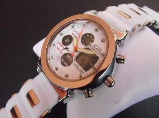 Reloj Digital Analogico para Mujer EveMonCrois B303 Blanco.Correa