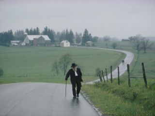 An 81 Year Old Amish Man Walks to the Amish Church on Sunday Morning Photographic Print by Robert Madden